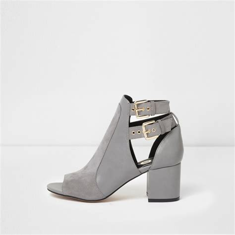 Boots Grey grey buckle peep toe shoe boots shoes shoes
