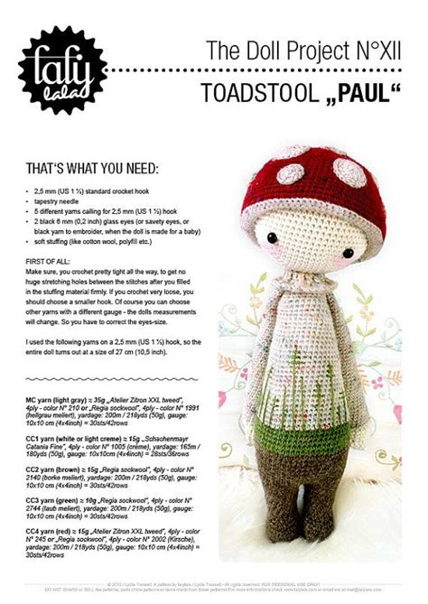 Free Pattern Lalylala | paul the toadstool lalylala crochet pattern amigurumi