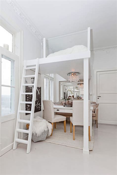 loft bed  glass railings lets  light