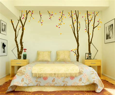 Bedroom Wall Decorating Ideas Birch Tree Wall Decal With Leaves Bedroom Decor Autumn Fall Interior Design Ideas Style