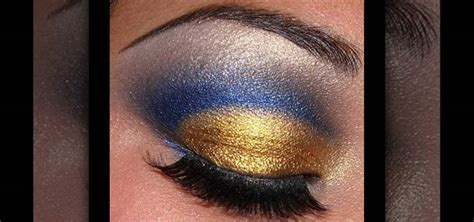 how to create a blue amp gold cut crease eye makeup look