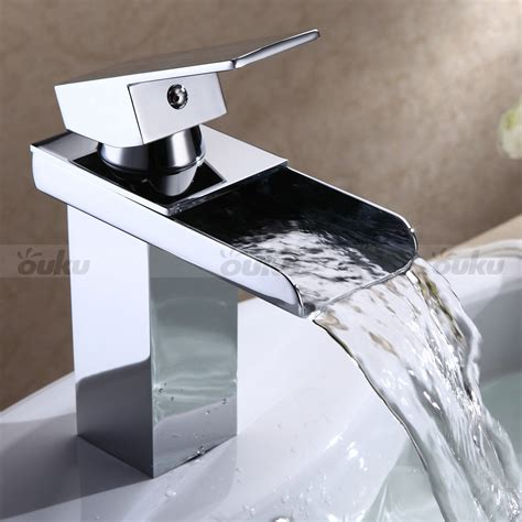 waterfall bathroom sink faucet chrome finish bathroom sink faucet single handle modern waterfall mixer taps ebay