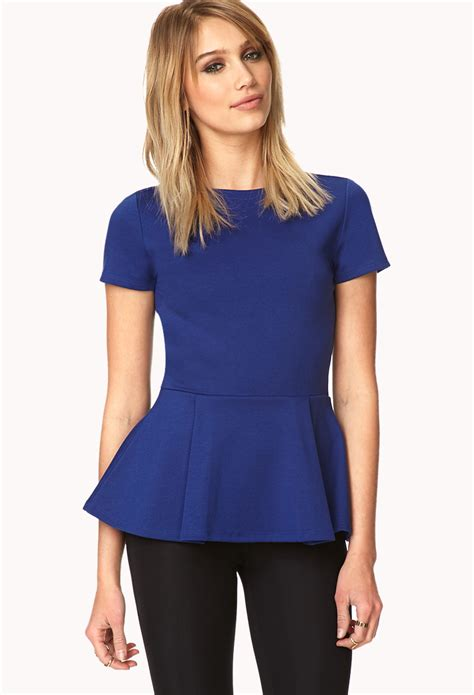 best blue lyst forever 21 short sleeve peplum top in blue