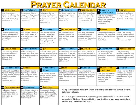 Downloadable Prayer Calendar Free Calendar Template Prayer Schedule Template