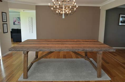 large rustic industrial   seat timber dining table