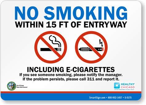 no smoking e cigarettes signs printable no smoking within 15 ft of entryway including e cigarettes