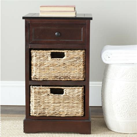 storage end table drawer 2 baskets wooden nightstand