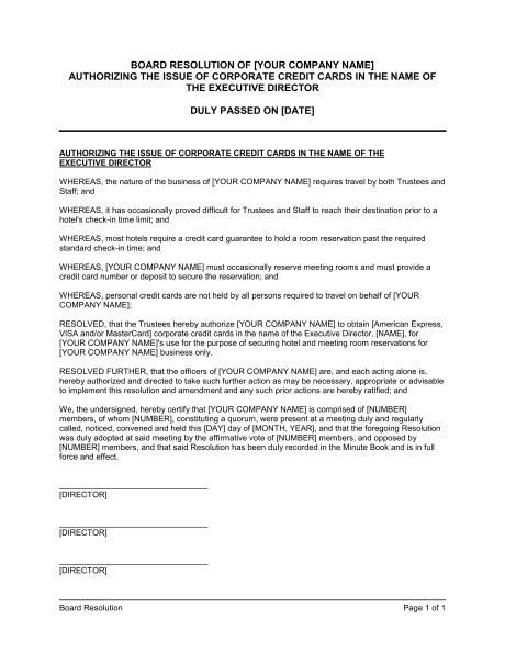 board resolutions template corporate resolution authorized signers sle templates