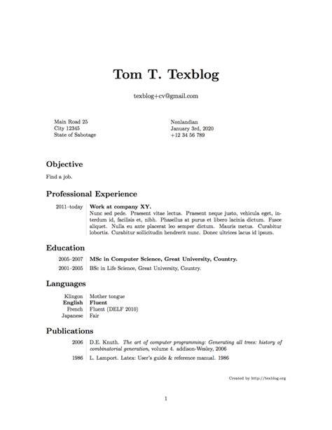 writing a cv in texblog