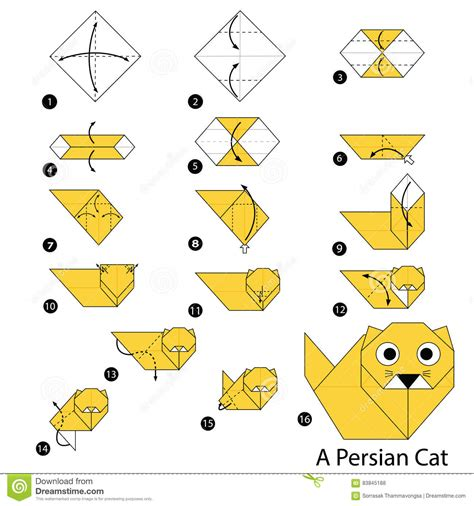 How To Make A Paper Cat Step By Step - origami origami easy origami cat easy tutorial