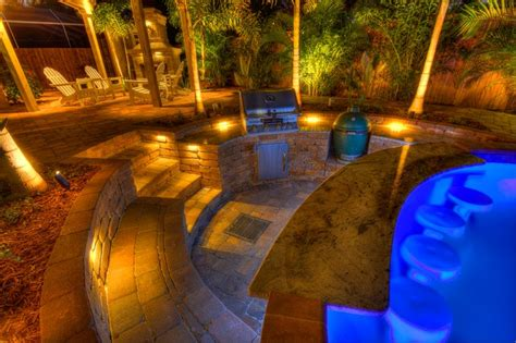 Hanging Lights Kitchen Sunken Outdoor Kitchen Tropical Pool Tampa By Landscape Fusion