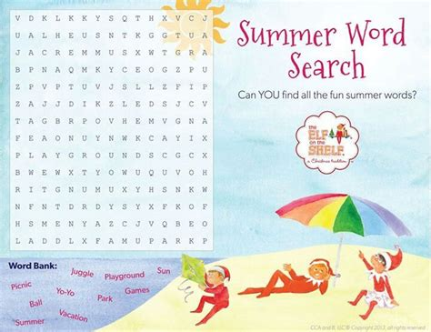 elf on the shelf printable word search summer word search elf on the shelf pinterest