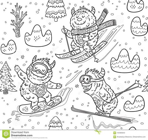 cute mountain pattern black and white yeti skiing in the mountain seamless