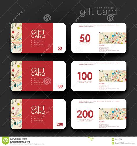 coupon card template gift coupon discount card template with floral ornament
