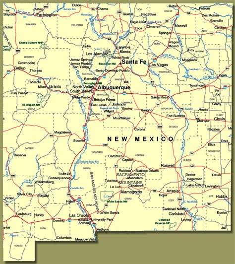 road map of nm show me new mexico