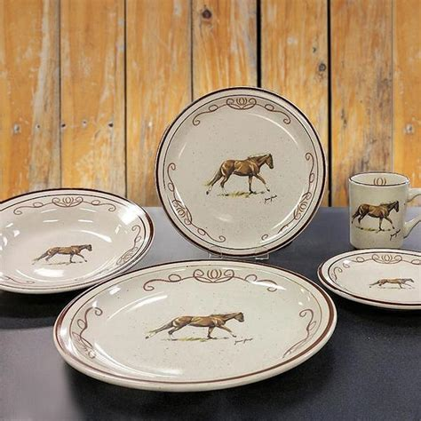 Western Series   Horse Scroll 20 PC Dinnerware set: Cabin