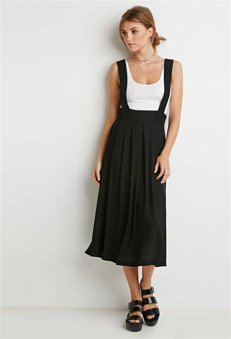 Nzam St Overal Skirt lyst forever 21 contemporary pleated overall skirt in black