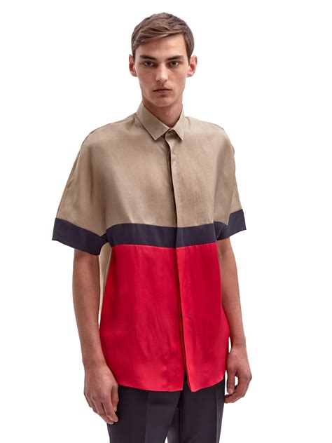 s color block shirt lanvin mens colour block shirt in brown for lyst
