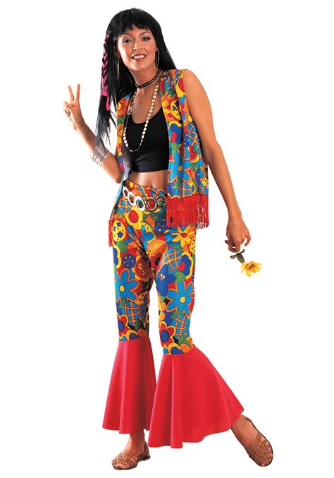 girls flower power hippie costume halloweencostumescom women s flower power costume
