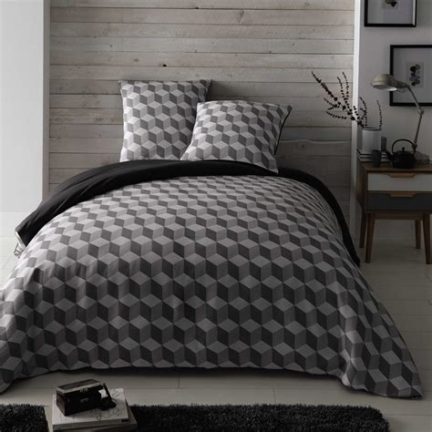 White Cotton King Size Duvet Set Cubic Cotton King Size Bedding Set In White Grey 240 X