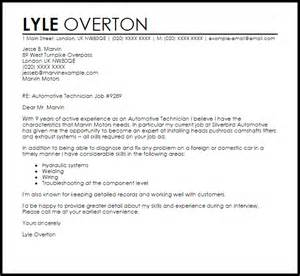 Automotive Service Technician Cover Letter by Automotive Technician Cover Letter Sle Livecareer