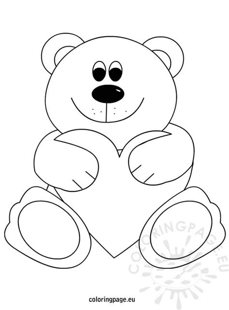 teddy bear holding a heart coloring page teddy bear heart coloring page