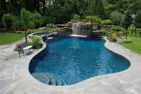 swimming pool landscaping tropical backyard waterfalls allendale nj cipriano