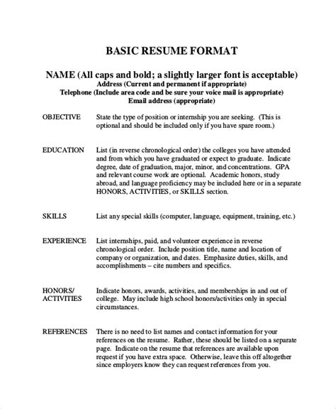 Basic Resume Format by 8 Basic Resume Sles Sle Templates