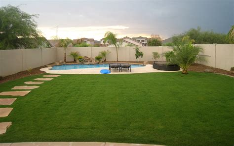 In Backyard astro turf instead of grass maintenance gardens backyards area arizona az