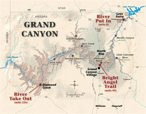 grand map arizona river map grand