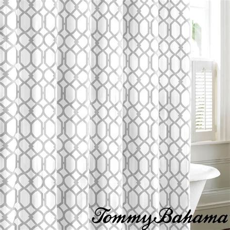 White Curtains With Gray Pattern Bahama Shoretown Trellis Gray Cotton Shower Curtain By Bahama The O Jays Gray And