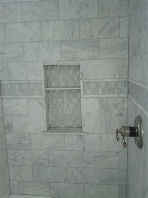 marble and subway tile bathroom marble tile bathroom wall