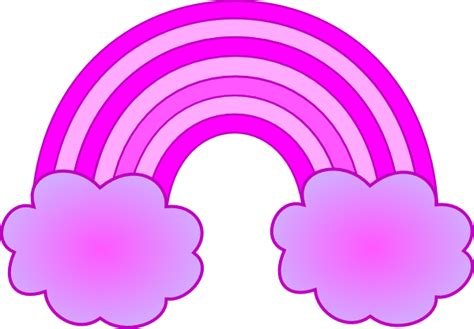Rainbow Pink purple and pink rainbow with 2 clouds clip at clker