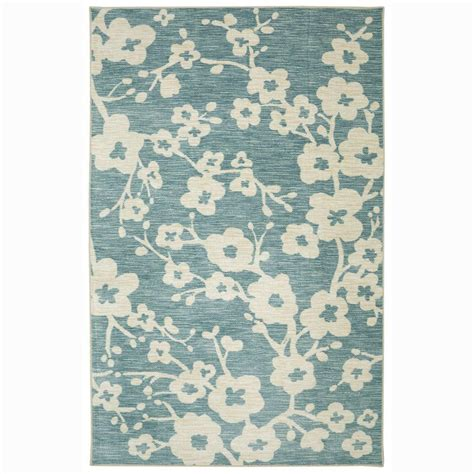 teal area rug home depot mohawk home naples burbank blossom teal 5 ft x 8 ft area rug 472825 the home depot
