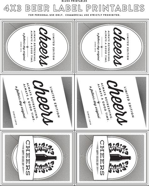 home brew labels template fathers day bottle printable labels from blush