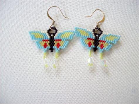 butterfly beaded earrings beaded butterfly earrings butterfly beadwork earrings