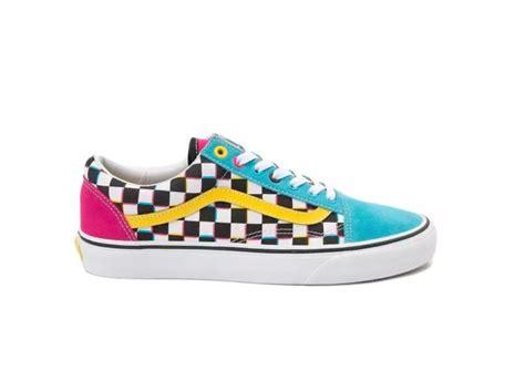 colorful vans vans skool checkerboard multi color sneaker