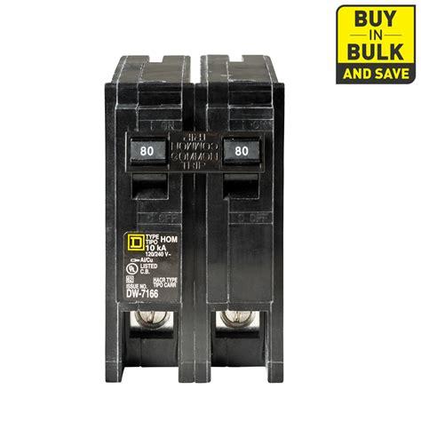 shop square d homeline 80 pole circuit breaker