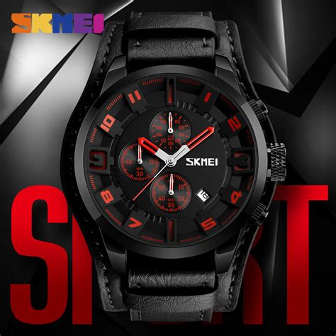 Jam Tangan Pria Rhytim Brown Black skmei jam tangan analog pria 9165 brown black