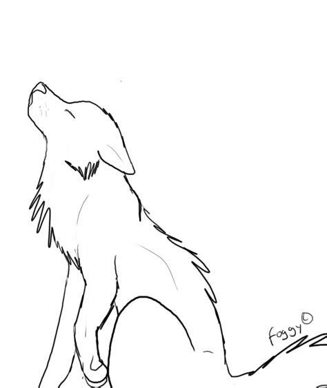 Simple Wolf Outline by Sketches Of Wolves Howling At The Moon Coloring Pages