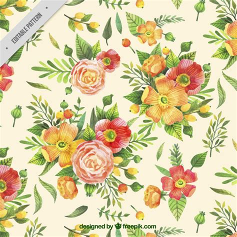 Hand Painted Flower Pattern | vintage pattern of hand painted flowers vector free download