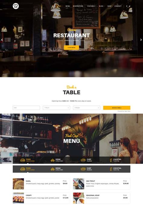 top ten joomla templates for restaurant and caf 233 website