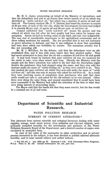 Research Synopsis In Literature by Department Of Scientific And Industrial Research Water Pollution Research Summary Of Current
