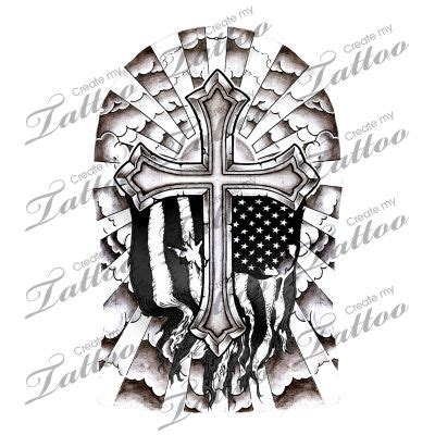 cross half sleeve cross half sleeve shaded with flag