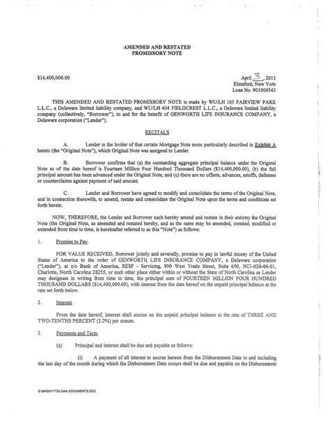 Amendment To Promissory Note Template Amended And Restated Promissory Note 14 400 000 00 April 3 2013