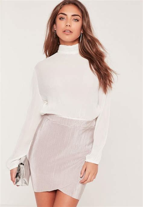 White Tops And Blouses Uk by Pleated Turtle Neck Sleeve Crop Blouse White Missguided
