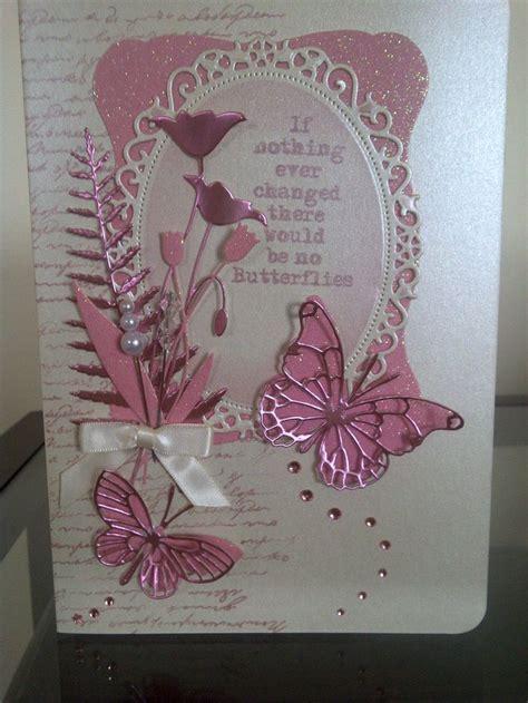 card dies handmade card using memory box dies in pink with