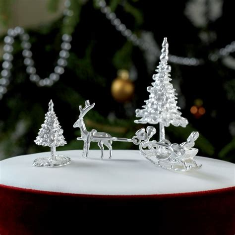 santa sleigh sterling silver christmas cake decoration
