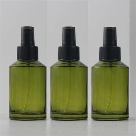 Refill Parfumbotol 125ml olive green glass travel refillable perfume bottle with black plastic atomizer sprayer