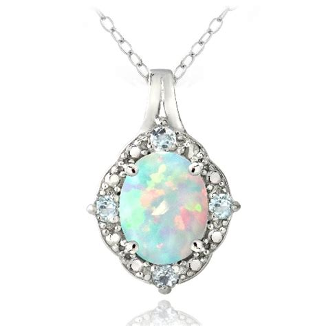 blue opal necklace sterling silver simulated white opal and blue topaz oval